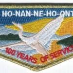 Ho-Nan-Ne-Ho-Ont Lodge #165 100th Anniversary OA Flap S40